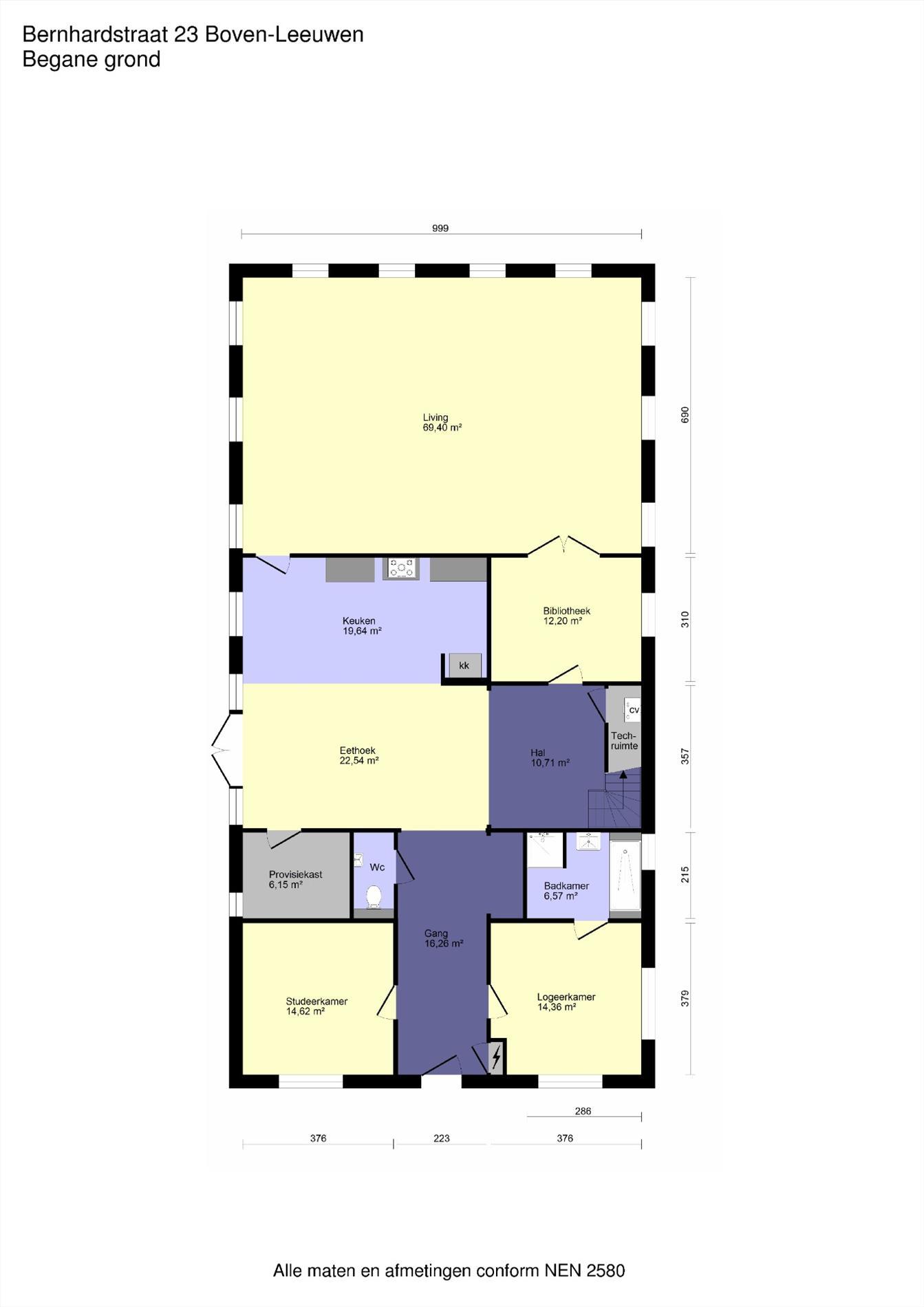 Floorplan - Bernhardstraat 23, 6657 AD Boven-Leeuwen