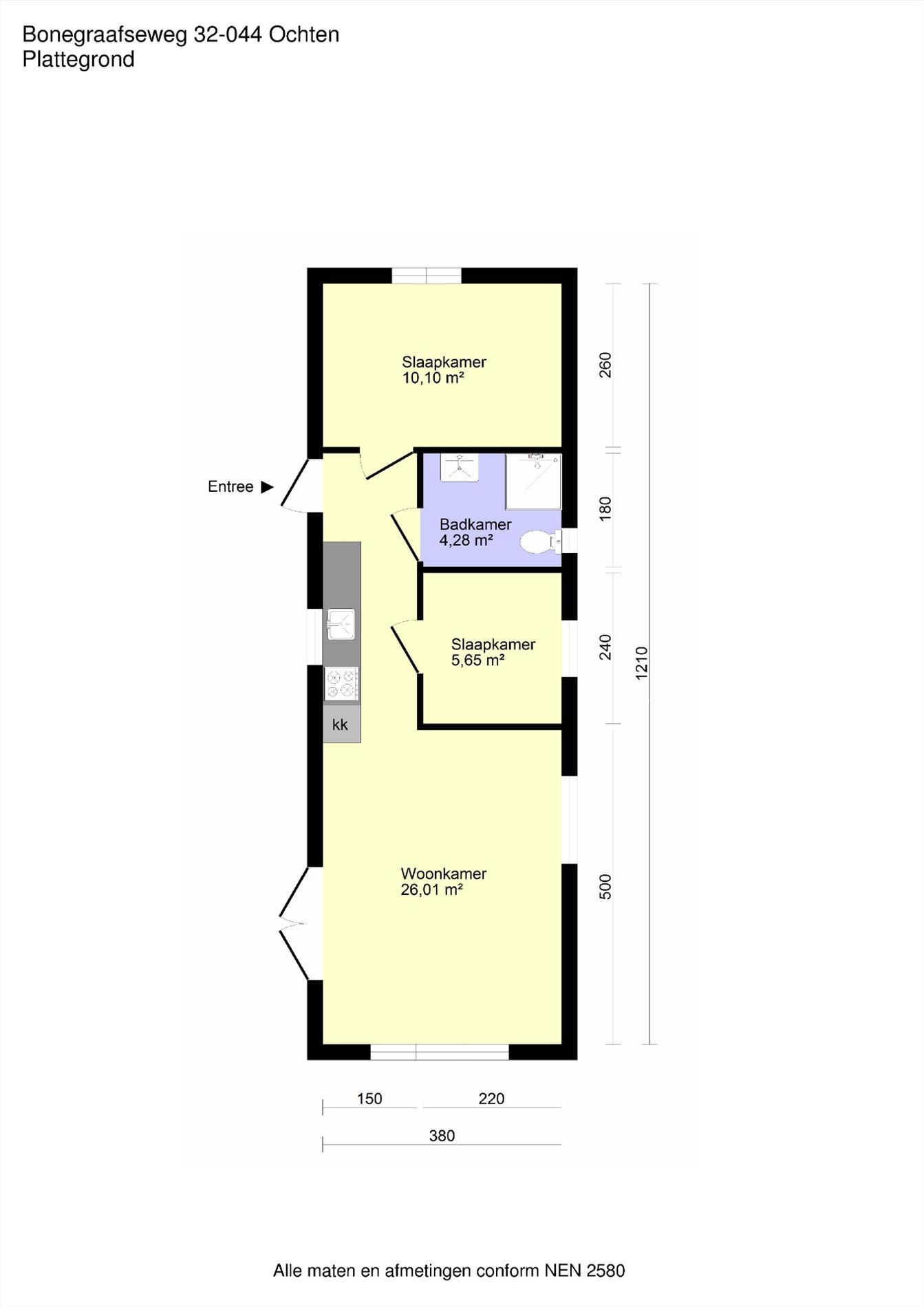 Floorplan - Bonegraafseweg 32-044, 4051 CH Ochten