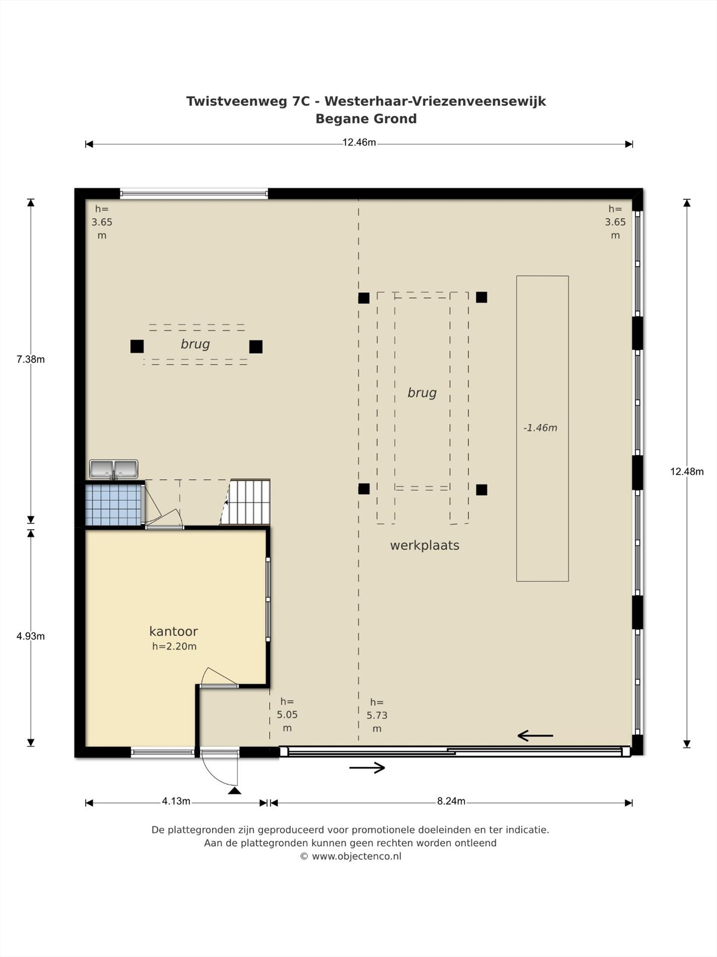 Floorplan - Twistveenweg 7c, 7681 PB Vroomshoop