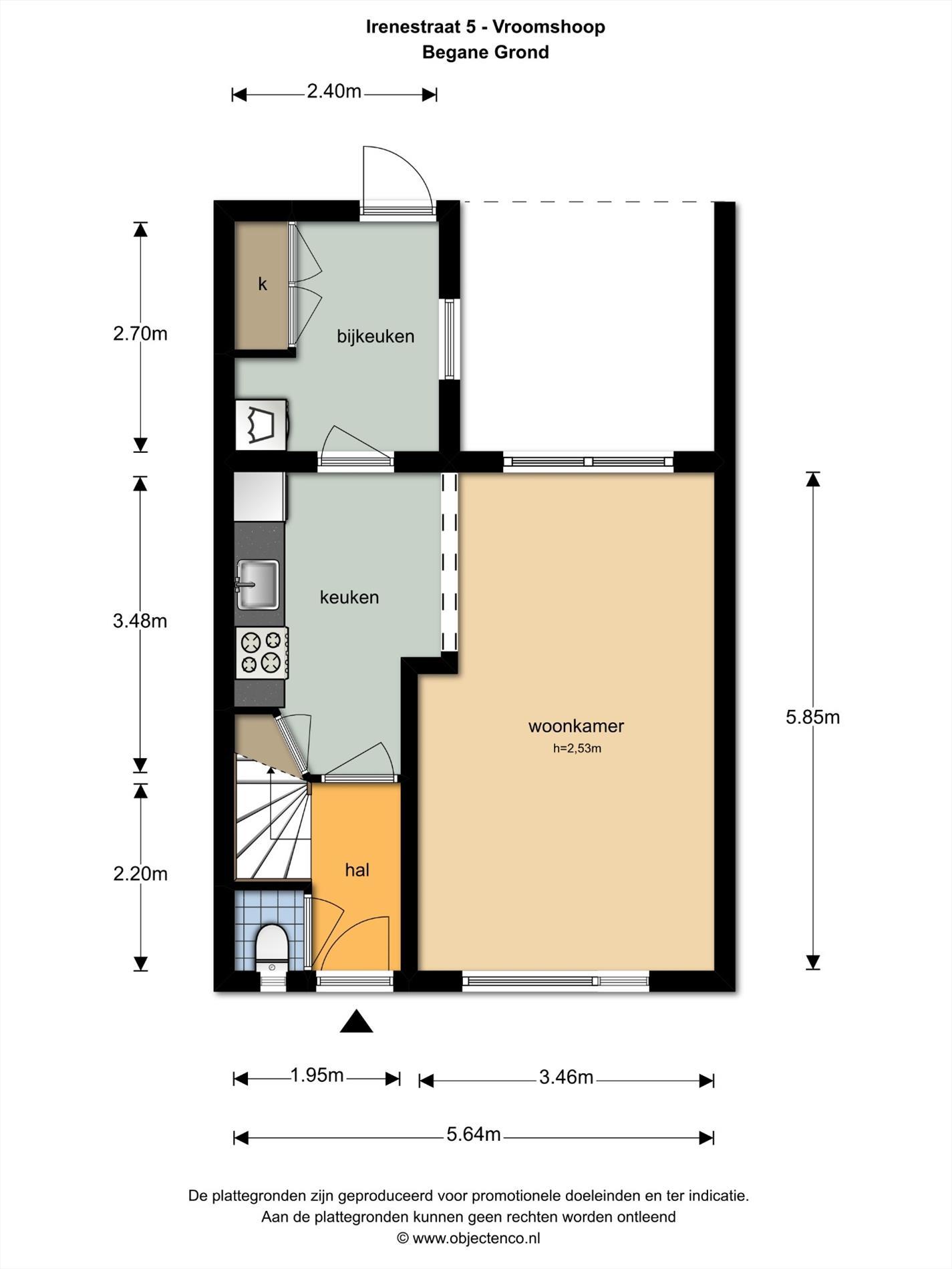 Floorplan - Irenestraat 5, 7681 AH Vroomshoop