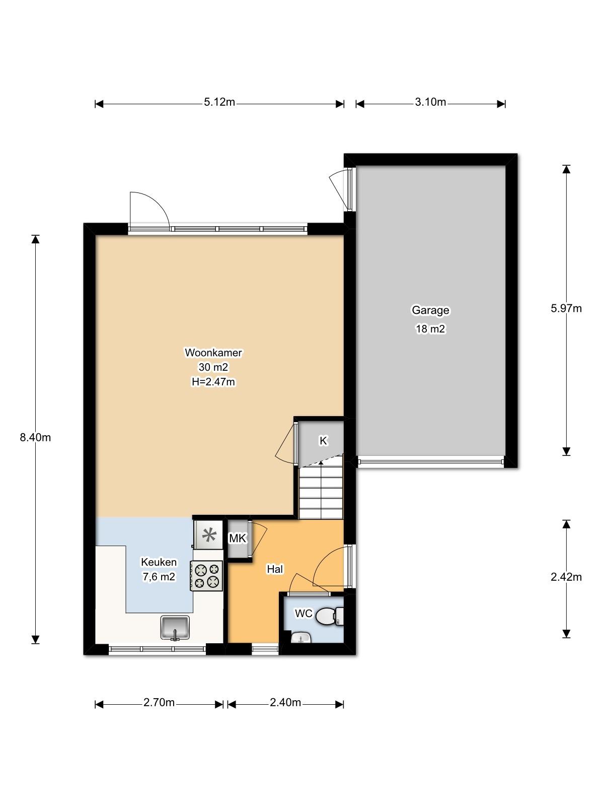 Floorplan - Baron van Brakellstraat 25, 4023AG Rijswijk